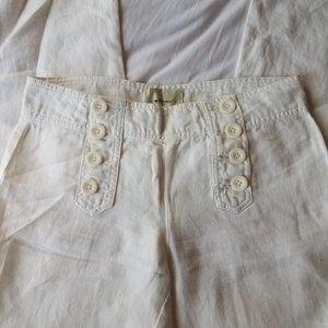 Anthropologie Elevenses Wide Leg Linen Pants